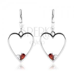 Náušnice ze stříbra 925, symetrický obrys srdce, červený a čirý zirkon