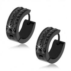 Černé ocelové náušnice, dva pruhy černých zirkonů S86.10