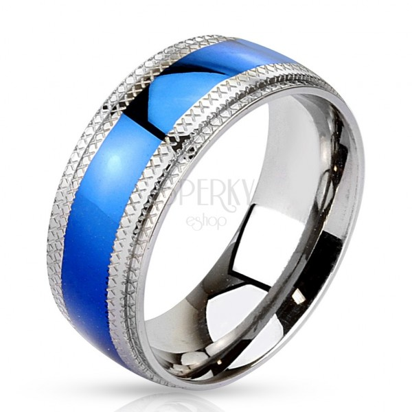 Ocelový prsten - modrý pruh uprostřed, vroubkované okraje