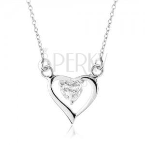 Stříbrný náhrdelník 925, obrys asymetrického srdce, zirkonové srdíčko