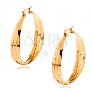 Kruhové náušnice z chirurgické oceli zlaté barvy, tři překřížené linie