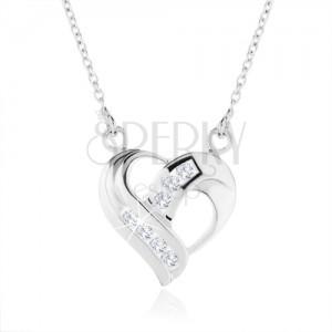 Stříbrný náhrdelník 925, přívěsek ve tvaru srdce - zatočené linie, čiré zirkony
