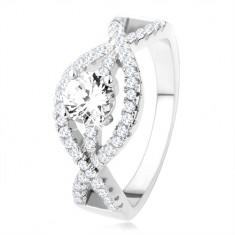 Stříbrný prsten 925, zvlněné zirkonové linie, kulatý čirý kámen SP43.02