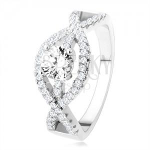 Stříbrný prsten 925, zvlněné zirkonové linie, kulatý čirý kámen