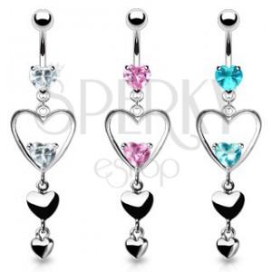 Ocelový piercing do bříška, tři srdce stříbrné barvy, růžové zirkony