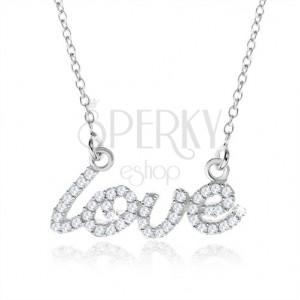 """Stříbrný náhrdelník 925, ozdobný nápis """"love"""" z čirých zirkonů"""