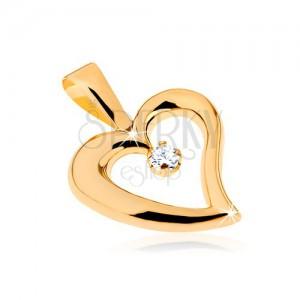 Zlatý přívěsek 375 - lesklý obrys nepravidelného srdce, čirý zirkon ve středu