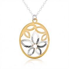 Stříbrný náhrdelník 925, oválný přívěsek, výřez ve tvaru květu, okvětní lístky zlaté barvy SP45.15