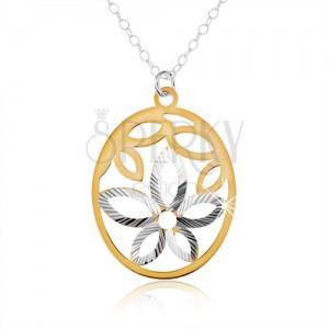 Stříbrný náhrdelník 925, oválný přívěsek, výřez ve tvaru květu, okvětní lístky zlaté barvy