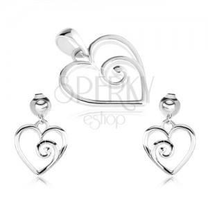 Stříbrný set 925, přívěsek a náušnice, kontura srdce se spirálou