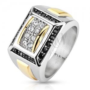 Ocelový prsten stříbrné a zlaté barvy, černé a čiré zirkony, obdélníky