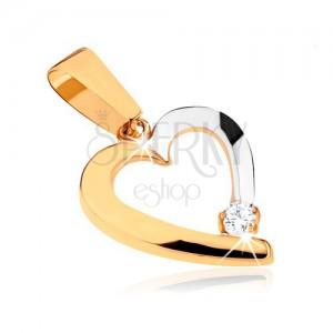 Dvoubarevný přívěsek v 9K zlatě - obrys nesouměrného srdce, čirý kamínek