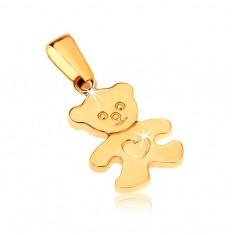 Zlatý přívěsek 375 - blyštivý plochý medvídek se srdíčkem na bříšku GG32.01