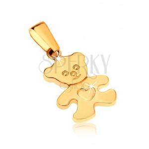 Zlatý přívěsek 375 - blyštivý plochý medvídek se srdíčkem na bříšku