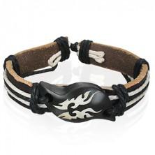 Náramek z kůže - Tribal symbol na dřevěné vlně