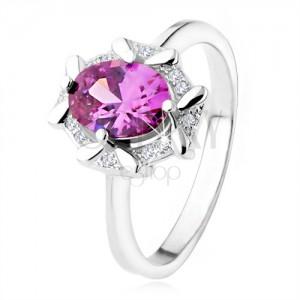 Zásnubní prsten ze stříbra 925, oválný fialový kamínek, zirkonový lem