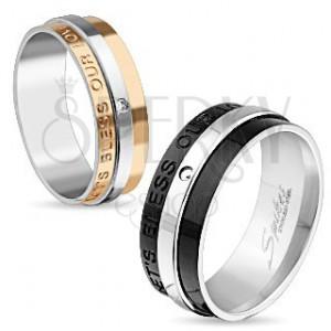 Lesklý ocelový prsten, černá a stříbrná barva, nápis, čirý zirkon, 8 mm