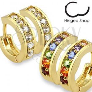 Kruhové ocelové náušnice zlaté barvy, zirkonový pás