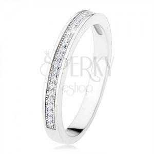 Prsten ze stříbra 925, vodorovná linie čirých zirkonů, gravírované kuličky