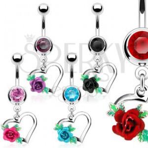 Ocelový piercing do bříška, obrys srdce, rozkvetlá růže s lístky, zirkony
