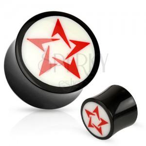 Kruhový černobílý plug do ucha z přírodního materiálu, červená hvězda