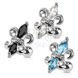 Ocelový piercing do tragu, královská lilie, zirkony