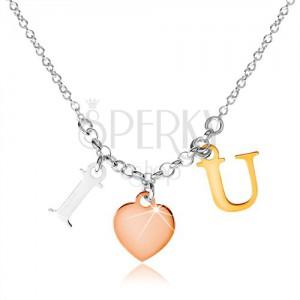 """Stříbrný náhrdelník 925, nápis """"I LOVE U"""" ve třech barevných odstínech"""