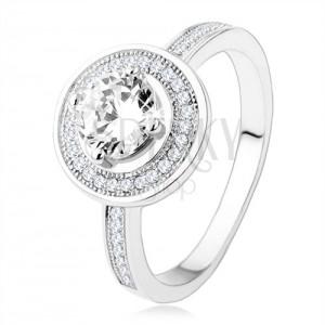 Zásnubní stříbrný prsten 925, kruh a ramena zdobená zirkony, čirý kámen