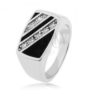 Stříbrný prsten 925, obdélník - šikmé linie čirých zirkonů, černá glazura