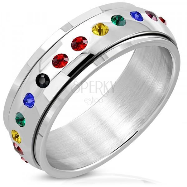 Lesklý ocelový prsten - otáčivý střed, zirkony v barvách duhy