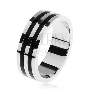 Lesklý prsten ze stříbra 925, dva černé pruhy