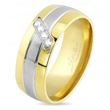 Prsten z oceli, linie zlaté a stříbrné barvy, šikmý pásek čirých zirkonů, 8 mm