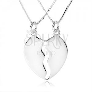 Stříbrný náhrdelník 925, dva řetízky, dvojpřívěsek ve tvaru rozpůleného srdce
