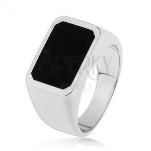 Prsten ze stříbra 925, hladký a lesklý povrch, obdélník s černou glazurou