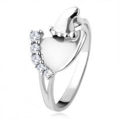 Stříbrný prsten 925, větší a menší chodidlo, čiré blyštivé kamínky SP46.18
