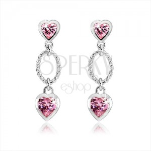 Stříbrné náušnice 925, dvě růžová zirkonová srdce, zdobený ovál