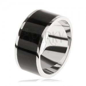 Lesklý prsten ze stříbra 925, černý dekorativní pás uprostřed
