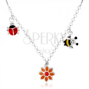 Stříbrný náhrdelník 925 pro děti, barevná beruška, kvítek, včelka
