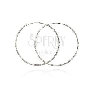 Stříbrné náušnice 925, úzké kruhy se šikmými zářezy, 40 mm