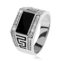 Stříbrný prsten 925, černý obdélník, čiré blyštivé kamínky, řecký klíč S81.07