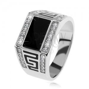 Stříbrný prsten 925, černý obdélník, čiré blyštivé kamínky, řecký klíč