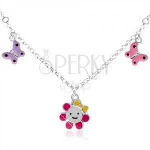 Dětský náhrdelník ze stříbra 925, kvítek a dva motýlci