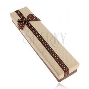 Krabička na řetízek hnědé a béžové barvy, stuha s puntíky, mašle