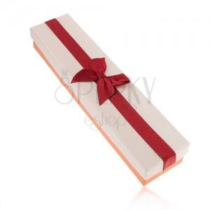 Dárková krabička na řetízek, oranžová, bordó a béžová barva, mašle