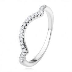 Prsten ze stříbra 925, zašpičatělé linie, oblouk, čiré třpytivé kamínky
