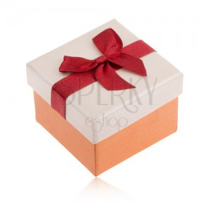 Krabička na prsten, oranžová a béžová barva, bordó stuha, mašle
