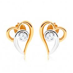 Dvoubarevné náušnice ze zlata 375, kontura asymetrického srdce, čirý zirkon GG58.05