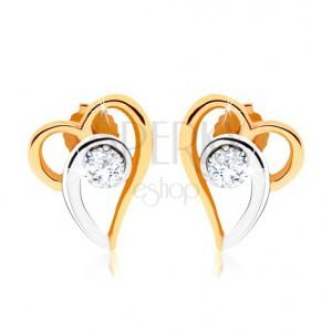 Dvoubarevné náušnice ze zlata 375, kontura asymetrického srdce, čirý zirkon