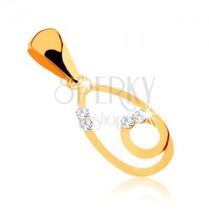 Přívěsek z 9K žlutého zlata, obrys kapky se smyčkou, zirkonky čiré barvy
