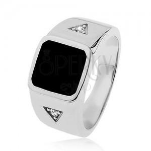 Stříbrný prsten 925, čtverec s černou glazurou, trojúhelníky se zirkonem